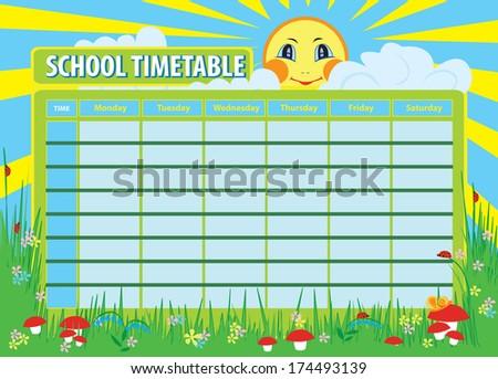 School Timetables to Print School Timetable