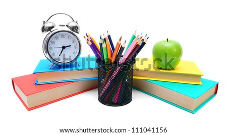 School tools. On a white background. - stock photo
