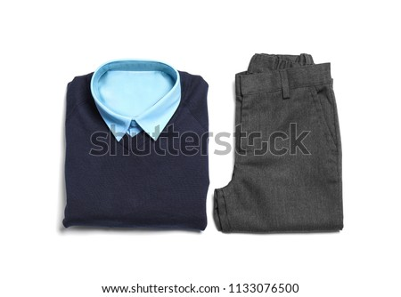 School uniform for boy on white background, top view