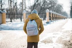 school walk alone. the student goes to college. winter day, snow on the street