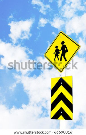 school warning traffic road sign on beautiful sky background