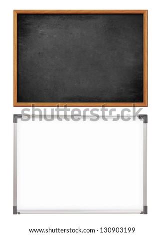 school whiteboard and chalkboard or blackboard