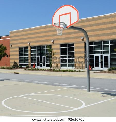 School yard basketball court - stock photo