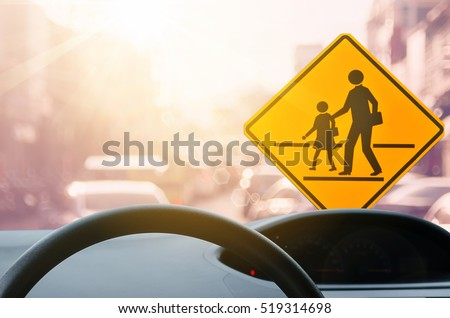 school zone warning sign and...