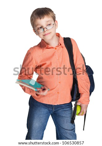 Schoolchild in glasses with apple against white background
