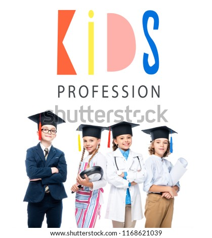 """schoolchildren in costumes of different professions and graduation caps isolated on white, with """"kids profession"""" lettering #1168621039"""