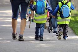 Schoolchildren, kindergartners  on the way