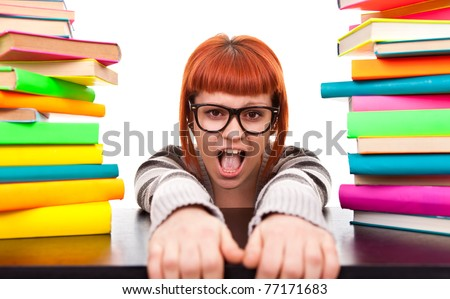 schoolgirl between pile of books, don't go back to school, isolated on white