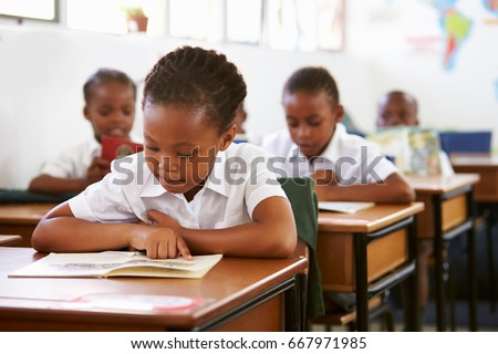 Schoolgirl reading at her desk in elementary school lesson