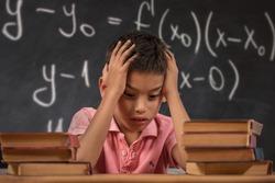 Schoolgirl trying to understand formula