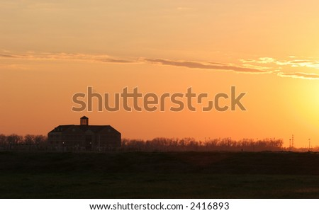 Schoolhouse at sunset
