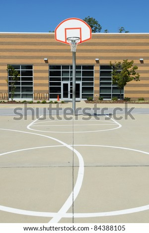 Schoolyard basketball court