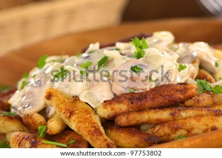 Schupfnudeln (Swabian potato noodles from Southern Germany) with mushroom sauce (Very Shallow Depth of Field, Focus on the front of the mushroom sauce)