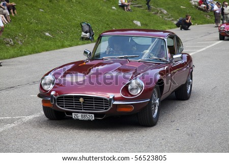 Auto Racing Photos on Stock Photo   Schwaegalp   June 27  Old Racing Jaguar Car On The 7th