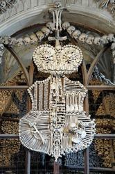 Schwarzenberg coat-of-arms made with bones in Sedlec ossuary (Kostnice), Kutna Hora, Czech Republic