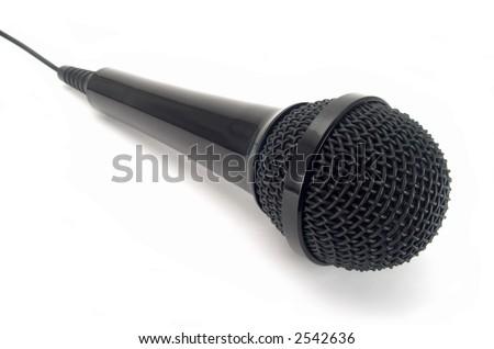 Schwarzes Mikrophon lokalisiert auf weißem Hintergrund. - stock photo