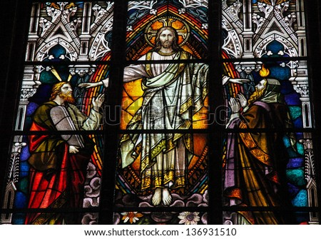 SCHWERIN, GERMANY - APRIL 12:  Stained glass window depicting Jesus Christ, Moses with the Ten Commandments and the Prophet Iesaiah in the cathedral of Schwerin, Germany on April 12, 2013.