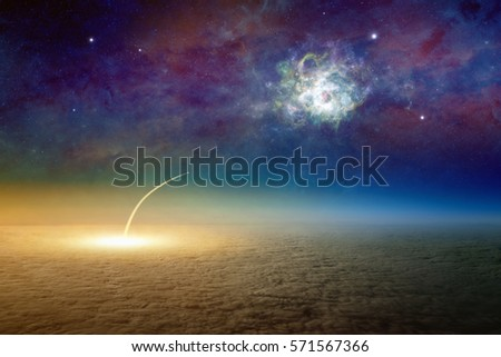 Sci-fi background - aerial view of space shuttle taking off, mission to deep outer space. Elements of this image furnished by NASA.