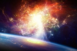 Sci-fi background - teleportation to another world or dimension, secret scientific experiment, spiral galaxy. Elements of this image furnished by NASA