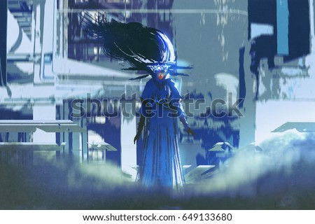sci-fi character of woman in a blue dress standing in futuristic city with digital art style, illustration painting
