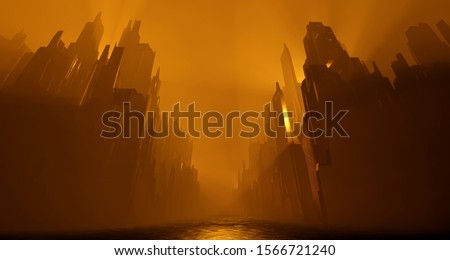 Sci Fi city abandoned landscape. Dark street house yellow fog smoke fire. Abstract concept background. 3D rendering