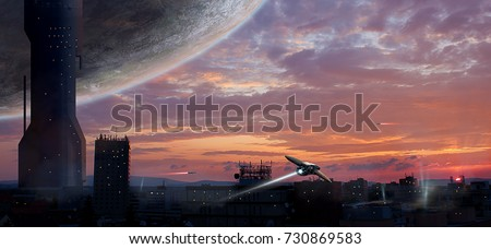 Stock Photo Sci-fi city with planet and spaceships, photo manipulation, Elements furnished by NASA. 3D rendering