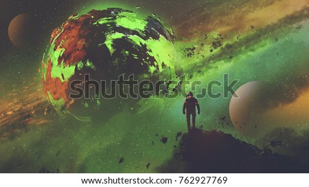 Stock Photo sci-fi concept of an astronaut standing on huge rock looking at the acid planet, digital art style, illustration painting