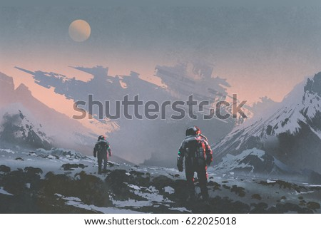 Shutterstock sci-fi concept of astronauts walking to derelict spaceship on alien planet, illustration painting