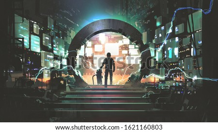 sci-fi concept showing a man standing at the futuristic portal, digital art style, illustration painting