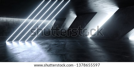 Sci Fi Fluorescent Tilted Tubes Neon Glowing Blue White Lights In Huge Dark Cement Concrete  Grunge Underground  Garage Reflections Alien Spaceship Future Arch 3D Rendering Illustration