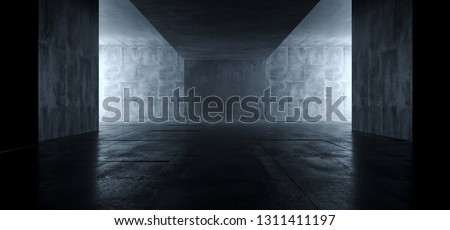 Sci Fi Futuristic Bright Dark Empty Studio Podium Showroom Reflective Grunge Concrete Glowing Elegant Room Tunnel Empty Space Background 3D Rendering Illustration