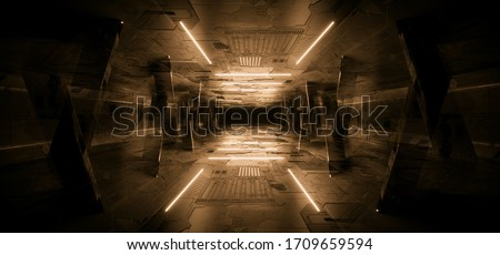 Sci Fi Futuristic Concrete Schematic Textured Orange Glowing laser Neon Columns Tunnel Corridor Dark Night Warehouse Showroom Cyber Synth 3D Rendering illustration Stock photo ©