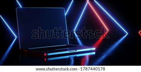 Sci Fi Futuristic Laptop Portable Computer Gaming Working Empty Screen Red Blue Glowing Laser Neon Light Beams Reflective Floor Night Dark Studio Stage Retro 3D Rendering illustration
