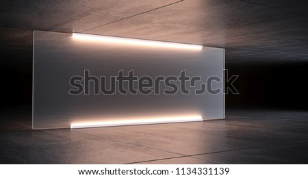 Sci Fi Futuristic Lighted Big Glass In Concrete Room With Reflective Ceiling And Floor On The Dark Billboard Concept 3D Rendering Illustration