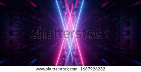 SCi Fi Futuristic Metal Reflective Schematic Textured Motherboard Floor Realistic Modern Neon Glowing Laser Triangle Arc Beams Purple Blue Electric Shape Empty Background 3D Rendering Illustration