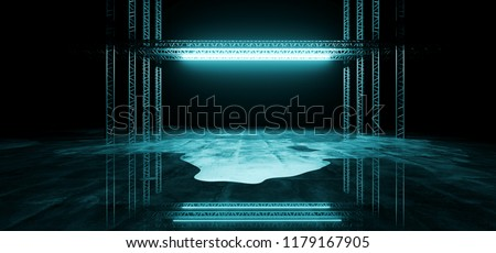 Sci-FI Futuristic Modern Dark Stage Structure On Concrete Wet Floor With Ice Blue Glowing Neon Tube Lights Empty Space Wallpaper Background 3D Rendering Illustration