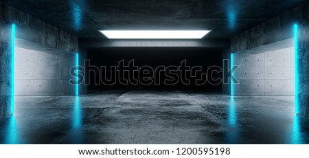 Sci-Fi Futuristic Modern Grunge Concrete Empty Underground Tunnel Corridor Garage With Reflections And Blue Neon Glowing Tube Lights 3D Rendering Illustration