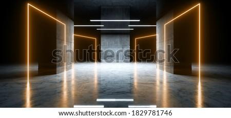 Sci Fi Futuristic Modern Parking Neon Glowing Laser Orange Yellow Cement Concrete Reflective Dark Underground Car Showroom Warehouse Garage Background 3D Rendering Illustration