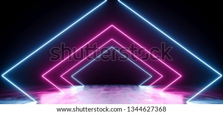 Sci Fi Futuristic Modern Retro Vibrant Neon Glowing Laser Led Fluorescent Lumionous Purple Ultraviolet Pink Blue Triangle Shaped Line Tubes Glowing On Grunge Concrete Reflective Floor 3D Rendering