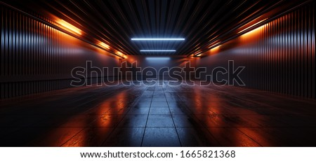 Sci Fi Futuristic Studio Stage Dark Room Underground Warehouse Garage Neon Led Laser Glowing Orange On Concrete Tiled Floor Reflective Cyber 3D Rendering Illustration
