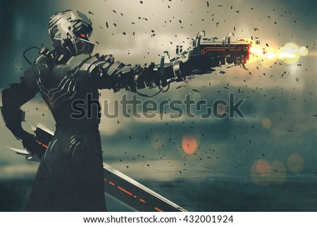Stock Photo sci-fi gaming character in futuristic suit aiming weapon,shooting gun,illustration