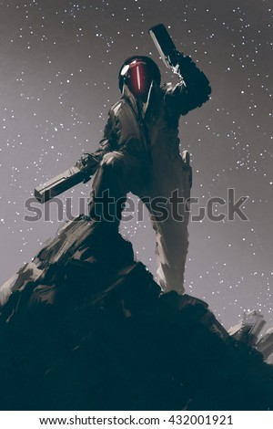 sci-fi gaming character in futuristic suit holding two guns,illustration