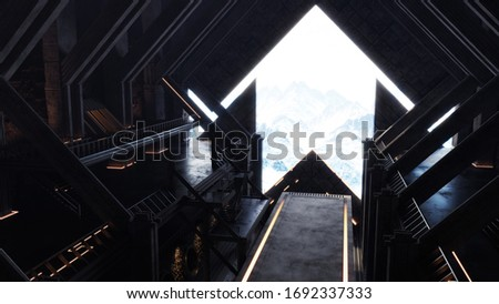 Sci-fi Hangar Gate Opening, Interior Environment Concept, Mountains View, 3D Illustration