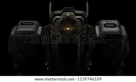 Stock Photo Sci-fi mech soldier on a black background. Military futuristic robot with a green and gray color metal. Scratched metal armor robot. Big robot mech with red luminous eyes. Front view. 3D rendering.