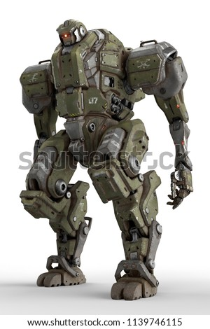 Stock Photo Sci-fi mech soldier standing on a white background. Military futuristic robot with a green and gray color metal. Mech controlled by a pilot. Scratched metal armor robot. Mech Battle. 3D rendering.