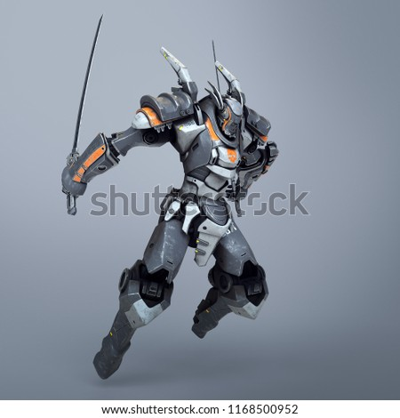 Stock Photo Sci-fi mech warrior holding two swords in fighting position. Mech in a jumping pose. Futuristic robot with white and gray color metal. Mech Battle. Orange paint. 3D rendering on a gray background.