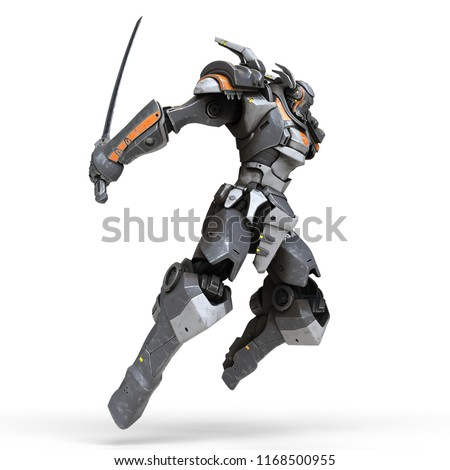 Stock Photo Sci-fi mech warrior jumping and attacking with katana sword. Sword in outstretched hand. Futuristic robot with white and gray color metal. Mech Battle. Orange paint. 3D rendering on a white background
