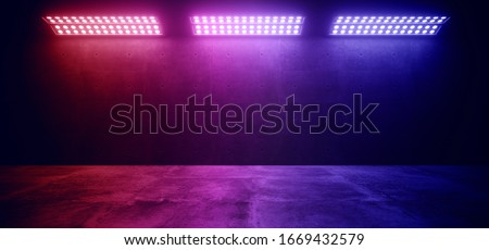 Sci Fi Modern Elegant Futuristic Cyber Neon Led Studio Big Panel Lights Blue Purple Glowing Lights On Dark Empty Grunge Concrete Room Background Stage 3D Rendering Illustration