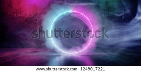 Sci Fi Modern Futuristic Smoke Neon Circle Shaped Tube Gradient Purple Pink Blue Glow Light In Dark Grunge Concrete Empty Room Reflection Background 3D Rendering Illustration