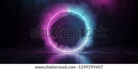 Sci Fi Modern Futuristic Smoke Neon Circle Shaped Tube Gradient Purple Pink Blue Glow Light In Dark Grunge Concrete Empty Room Reflection Background 3D Rendering Illustration
